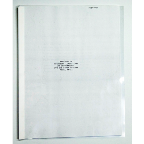 Piper PA-12 Operation Limitations Manual