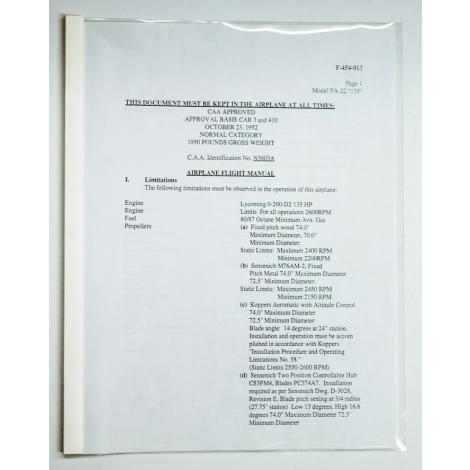Piper PA-22, 135 Flight Manual