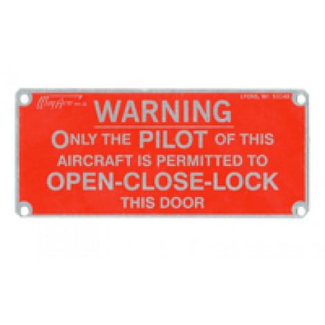 Interior Placards, Door Warning Plate