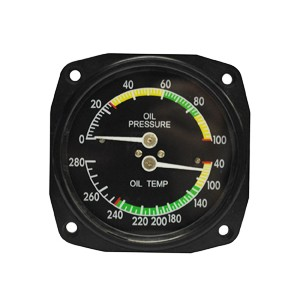 "3-1/8"" Oil Pressure/ Temperature Gauge, Non-TSO'd"
