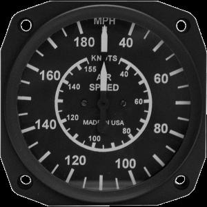 """3-1/8"""" 40-180 Airspeed Indicator by UMA, FAA/TSO'd"""