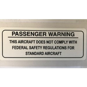 Passenger Warning Placard - .020 Aluminum, Black on Silver