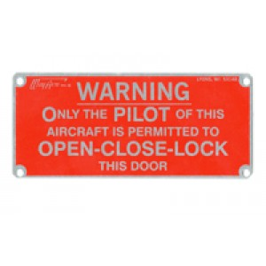 Interior Placards, Door Warning Plate