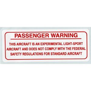 "Red Passenger Warning Placard  4""L X 1-1/2""W"