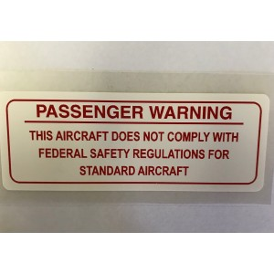 Passenger Warning Decal - Red on White