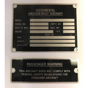 Amateur Built Kit Data Placard